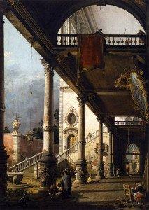 Canaletto, Perspective avec portique, Venise Academia, 1765