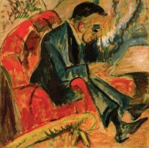 Kirchner, homme assis sur un banc